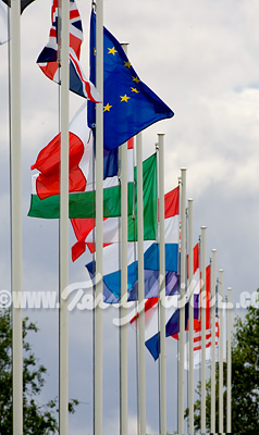 Flags beside Vierzon's international arena