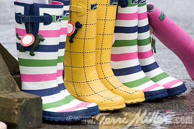 A rainbow of rain boots....