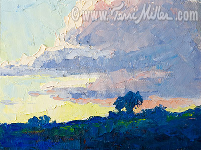 February Clouds To the West 6x8