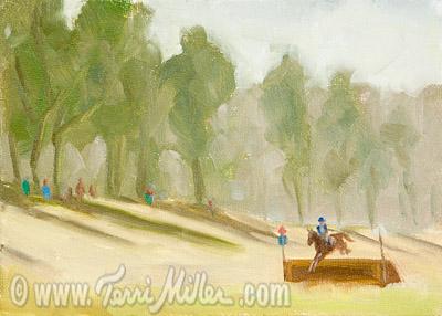 "Crosscountry Field, Oil on Canvas 5""x7"""