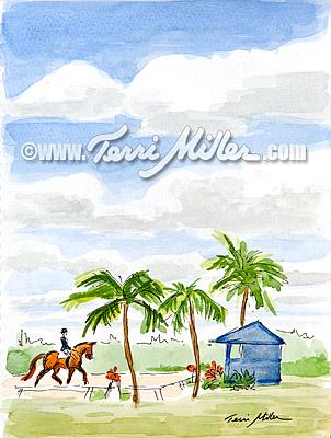 """Blue Judge's Box, Watercolor 6""""x9"""""""