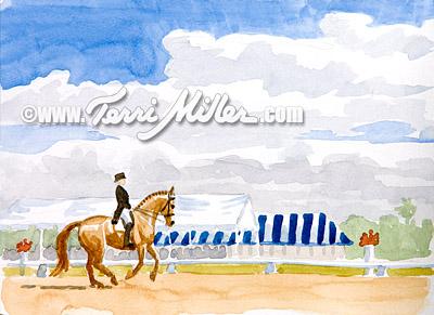 """Grand Prix and Stripes, Watercolor 6""""x9"""""""