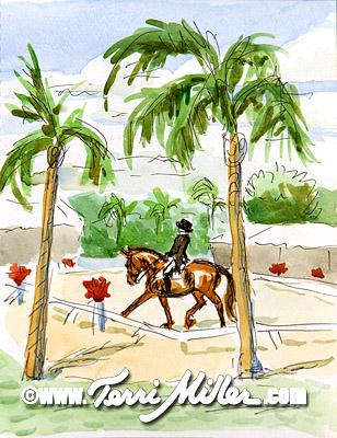 "Palm Tree Corner, Watercolor 6""x9"""