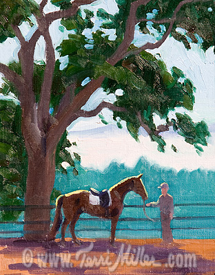 Waiting In The Shade - Plein Aire Oil Painting, 11x14