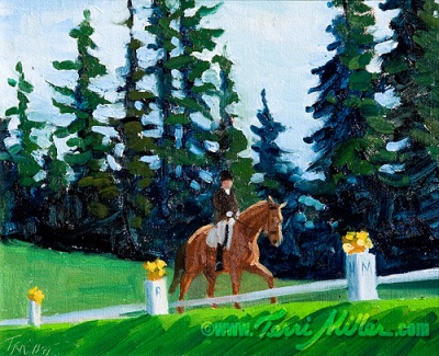 """Terrace Arena Looking North, Oil 8""""x10"""". I love this unusual viewpoint, looking up at the competing horse and rider."""