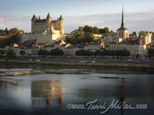 The town of Saumur - the sun shone briefly when we arrived!