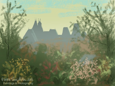 A sketch of the Rijksmuseum from my hotel window.