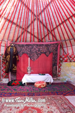 Inside the yurt. Hard to believe there is a huge horse show going on 50 yards away.