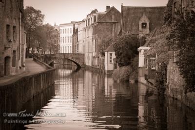Brugge canal in sepia