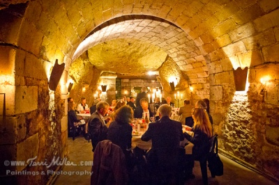 Candlelight dinner in the wine cave.