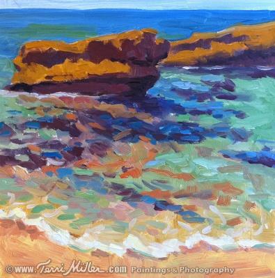 """Turquoise Water, La Jolla. Oil on panel, 8""""x 8""""."""