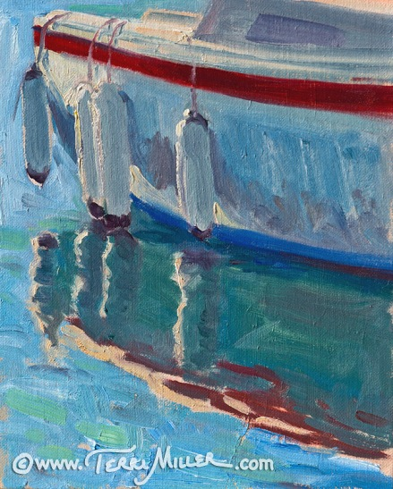 """Four Fenders"" Oil 8x10. A detail at water's edge, downtown San Diego."