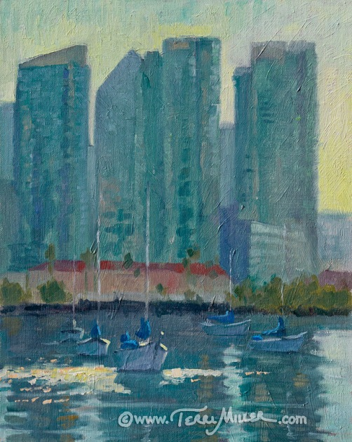 """Skyline Boats"" Oil, 11x14. The view of downtown San Diego on a January morning."