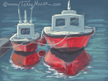 """Two Red Boats"" iPad painting, Shelter Island"