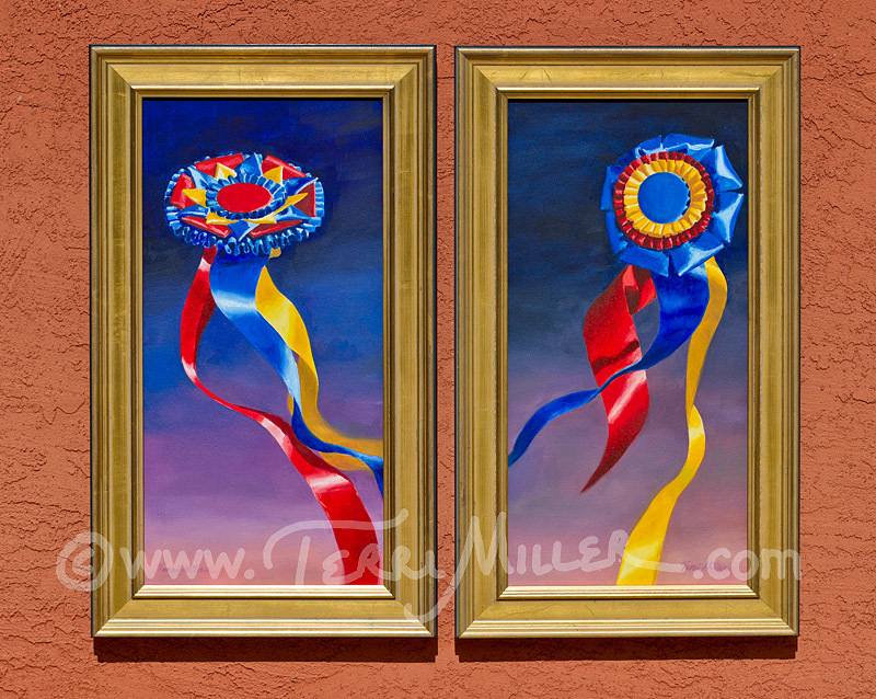 "Win the Night Class 1 and 2. Oil paintings, 10""x 20"""
