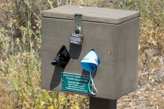 At one of the trailheads, someone added masks to the usual supplies.