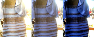 The Dress: straight out of the camera at right; correctly color balanced at left.